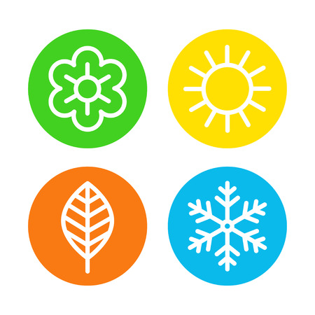 Four seasons icon set. Spring, summer, autumn and winter round icons, four astronomical seasons of the year kid decoration. Vector flat style cartoon illustration isolated on white background