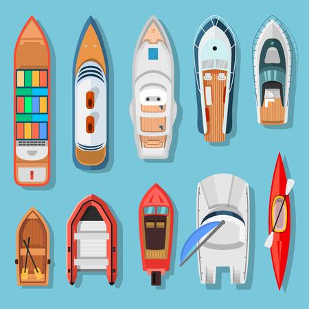 Draufsicht der Schiffe und der Boote. Transport für Reisen auf Wasseroberfläche, Schiffe über dem Meer oder Ozean Hintergrund. Vector die flache Artkarikaturillustration, die auf blauem Hintergrund lokalisiert wird Vektorgrafik