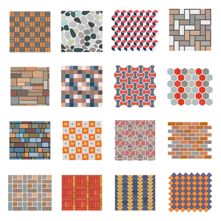 Seamless road stone tile set. Tiles for home and industrial projects, building and construction material.