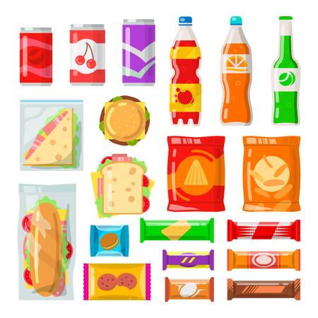 Productos de máquinas expendedoras Sabrosos bocadillos, bebidas, bebidas de máquina automática. Ilustración de dibujos animados de estilo plano de vector aislado sobre fondo blanco Ilustración de vector