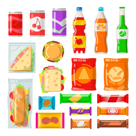 Vending machine products. Tasty snacks, beverages, drinks from automated machine. Vector flat style cartoon illustration isolated on white background