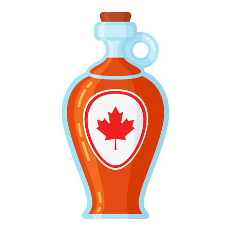 Maple syrup bottle. Sweet syrup from the xylem sap of sugar maple in glass container, served for pancakes. Vector flat style cartoon illustration isolated on white background