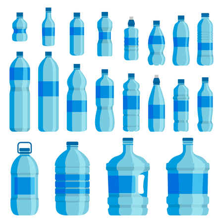 Plastic bottle water set. Blue drinking water packaged in PET Bottle, recyclable and easy to store liquids. Vector flat style cartoon illustration isolated on white background