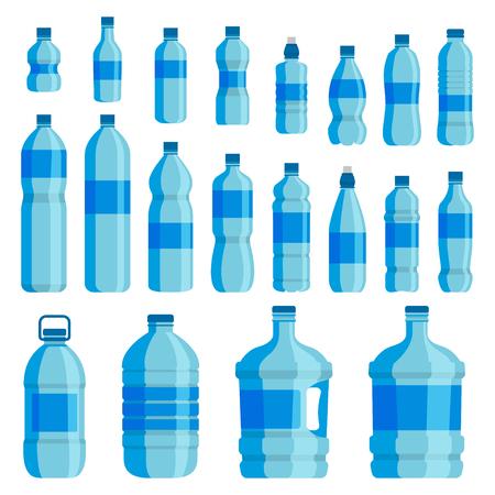 Set di bottiglie d'acqua di plastica. Acqua potabile blu confezionata in bottiglia PET, liquidi riciclabili e facili da conservare. Vector l'illustrazione piana del fumetto di stile isolata su fondo bianco Vettoriali
