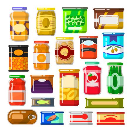 Zestaw konserw Ilustracje wektorowe