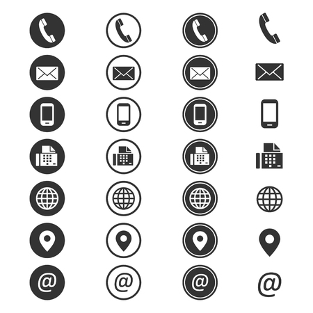 Contact info icon. Phone address-book, button contacts of the user, cell phone number or an email address information. Vector flat style cartoon illustration isolated on white background