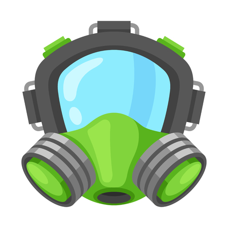 Respirator mask. Protective respiratory equipment over the mouth and nose, facepiece masklike device. Vector flat style cartoon illustration isolated on white background
