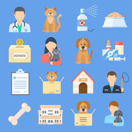 Pets shelter icon set. Temporary home for dogs, cats, and other animals offered for adoption, place for sick or wounded pets. Vector flat style cartoon illustration isolated on blue background