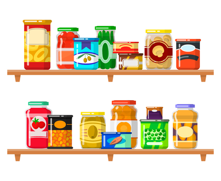 Canned food set. Meal preserved in a metal and glass container standing on shelf in a row, products to store. Vector flat style cartoon illustration isolated on white background