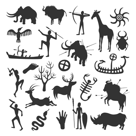 Cave painting set. Simple painting done by prehistoric people in caves, hunting and life painted in black on the wall. Vector flat style cartoon illustration isolated on white background Vector Illustration