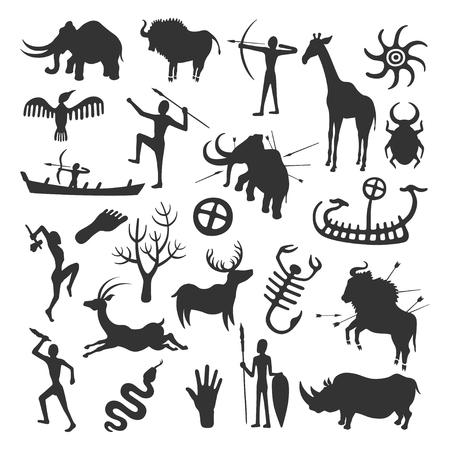 Höhlenmalerei-Set. Einfache Malerei von prähistorischen Menschen in Höhlen, Jagd und Leben in schwarz an die Wand gemalt. Vector die flache Artkarikaturillustration, die auf weißem Hintergrund lokalisiert wird Vektorgrafik