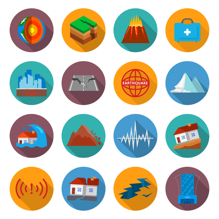 Earthquake damage icon set. Ground movement disaster, after shaking or trembling of the earth dangers, causing great destruction. Vector flat style cartoon illustration isolated on white background Иллюстрация