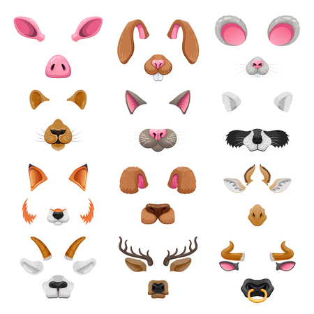 Video chat animal faces effects. 일러스트