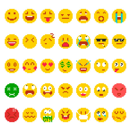 Pixel emoji set. Funny faces small images, emotion symbols, mood icons used in electronic communication, cute facial expressions. Vector flat style cartoon illustration isolated on white background.