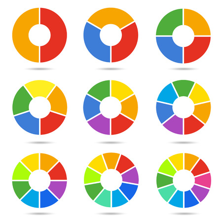 Circle segments set. Geometry circular segment symbols, bright sectors in a round shape. Vector flat style cartoon illustration isolated on white background Illustration