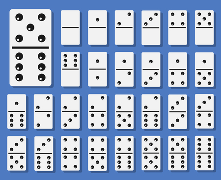 Domino bones set. Collection for board game played with rectangular domino tiles with dots or pips. Vector flat style cartoon illustration isolated on blue background.