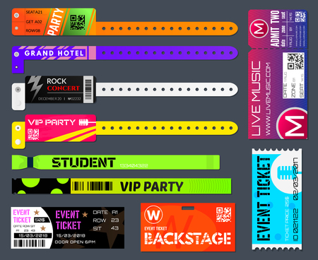 Event bracelets set. Event ticketing at music festivals and sporting events worn around the wrist or arm. Vector flat style cartoon illustration isolated on black background.
