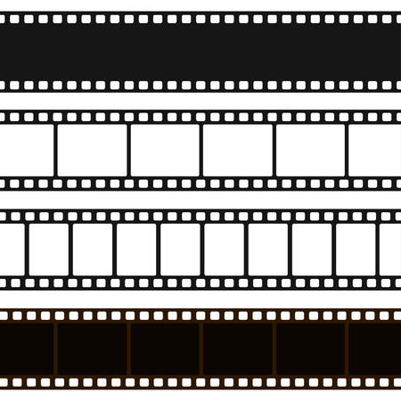 Film black and white strip. Long film line with a blank sequence of images for projection of pictures, movie. Vector flat style cartoon illustration.