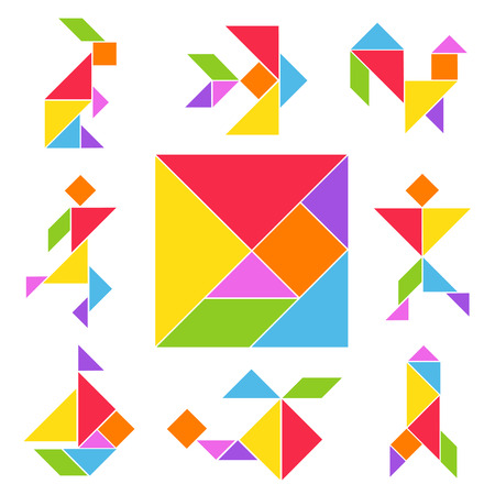 Tangram game set. Chinese geometrical puzzle, various color shapes to make from square cut into five triangles. Vector flat style cartoon illustration isolated on white background
