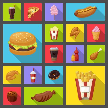 패스트 푸드 아이콘입니다. 맛있는 빠른 식사, 스낵바 및 레스토랑, 건강에 해로운 햄버거 및 칩을 제공하는 간편한 음식. 벡터 플랫 스타일 만화 일러