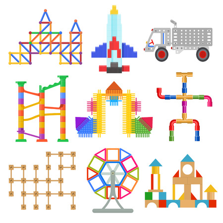 Children toy construction. Kid toys and games, selection of building sets, stacking blocks, colorful bricks, marble runs. Vector flat style cartoon illustration isolated on white background