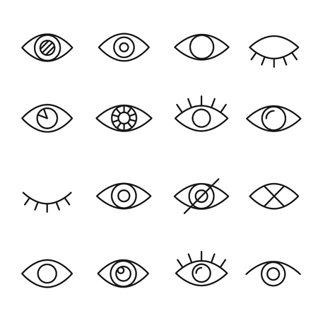 Eye line icon. Human organ of sight in different positions, visual system in graphic design. Vector line art illustration isolated on white background
