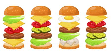 Burger ingredients four sets Illustration