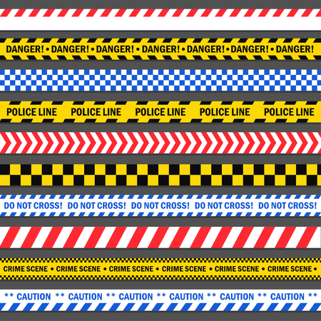 Police and construction tape illustration  イラスト・ベクター素材