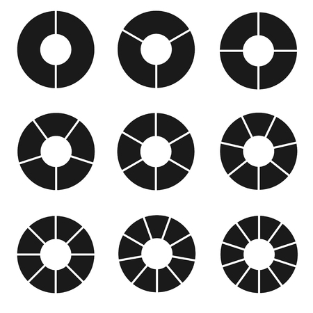 Black segmented circle set. Geometric shape, parts or sections divided for company information, chord and an arc of a circle. Illustration