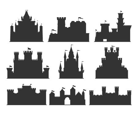 Castles silhouettes set.