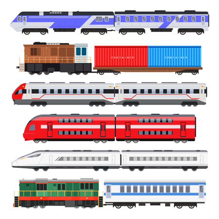 Passenger train set vector illustration Stock Illustratie