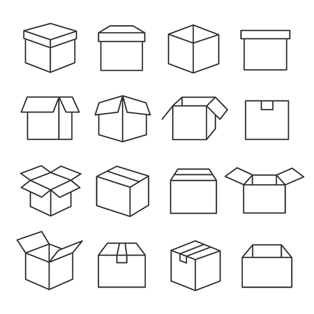 Carton boxes icon set in outline illustration.