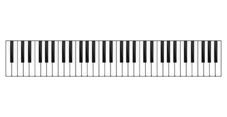 Piano keyboard image. Bank of keys on a musical instrument, piano, organ or synthesizer with seven white and five black keys to the octave. Vector line art illustration isolated on white background.