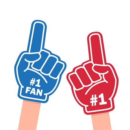 Fan foam finger illustration on white background. Illustration
