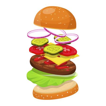 Hamburger ingredients image illustration on white background.