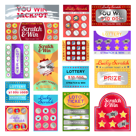 Scratch card set vector illustration