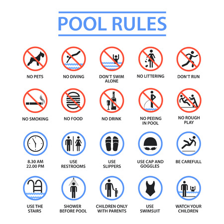 Swimming pool rules Фото со стока - 97179310