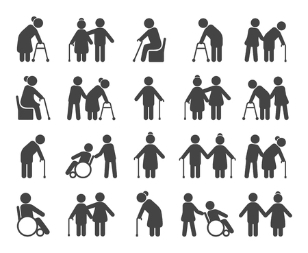 Conjunto de iconos de personas mayores. Ancianos o ancianos siluetas negras, atención médica y cartel de programas sociales para personas mayores. Ilustración de dibujos animados de estilo plano de vector aislado sobre fondo negro