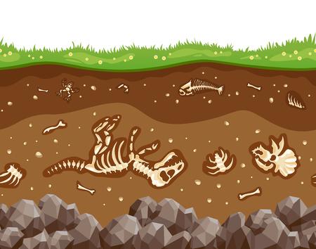 Soil layers with bones Ilustração