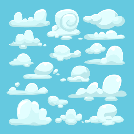 White clouds cartoon set Stock Illustratie