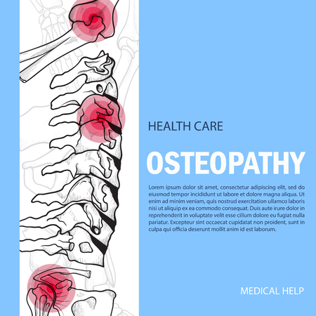 Bones banner mock up. Osteopathy treatment poster, medical disorders help with manipulation and massage of skeleton and musculature, copy space for text