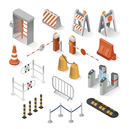 Urban security elements isometric set. City industry to keep citizens from danger or threat, protection of a person, building, organization, or country, road safety
