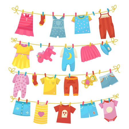 Children clothes on rope. Kids bright clothing washed is hung along the line to dry, using clothes pegs, clothespins. Vector flat style cartoon illustration isolated on white background