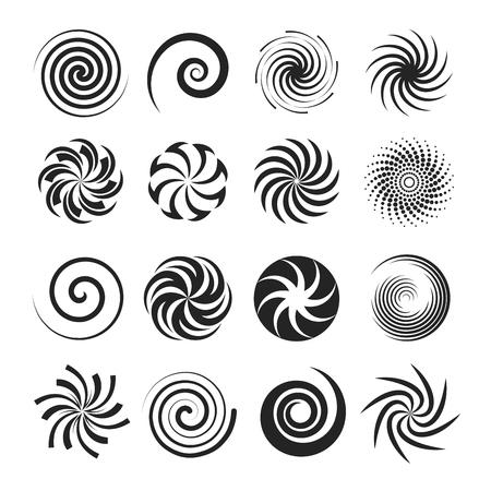 Spirales et tourbillons liquides. La courbe en spirale noire, la forme, le motif tournent rapidement et légèrement en rond. Illustration de dessin animé de style plat vecteur isolé sur fond blanc