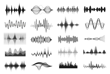 Music sound waves. Vibrations showing a sound, pattern of disturbance in black and white. Vector line art illustration on white background