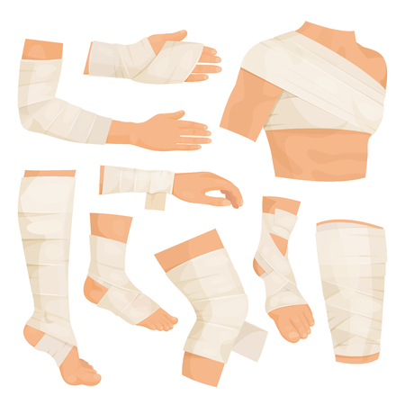 Bandaged body parts. Strips of woven material set to bind up a wound, to protect injured part of the body. Vector flat style cartoon illustration isolated on white background