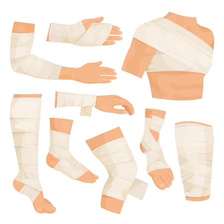 Partes del cuerpo vendadas. Tiras de material tejido para vendar una herida y proteger la parte lesionada del cuerpo. Ilustración de dibujos animados de estilo plano de vector aislado sobre fondo blanco Ilustración de vector