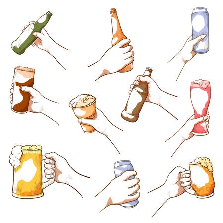 Hands holding beer. Alcoholic beverage drinkers grasp, carry bottles, cans, raise glasses to drink together. Vector illustration