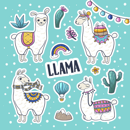 Llama hand drawn. Cute llama and cactus wall art, friendly woolly mammal, banner for petting zoos and farms. Vector illustration on light blue background