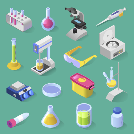 Vector set of laboratory equipment. Isometric colorful design. Collection of 16 isolated laboratory equipment icons microscope, bottle, tester, scales, glasses, vials, injector container box flask Illustration